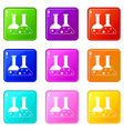 transparent flasks icons 9 set vector image vector image