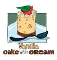 Vanilla cake with cream vector image