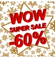 Winter sale poster with WOW SUPER SALE MINUS 60 vector image