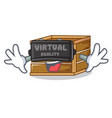 with virtual reality crate mascot cartoon style vector image