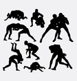 Wrestling sport silhouettes vector image vector image