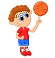 Little kid play basket ball vector image