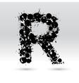 Letter R formed by inkblots vector image