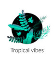 abstract tropic background with palm leaves vector image vector image