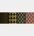 art deco golden seamless patterns set gatsby vector image