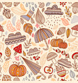 Autumn seamless pattern with leaves cloud acorn