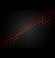 black hexagonal pattern on red magma background vector image vector image