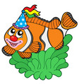 cartoon clownfish in anemone vector image