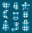 christmas felt toys blue tartan fabric vector image vector image