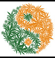 Colorful marijuana design Yin Yang cannabis leaf vector image