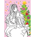 Coloring Book Of Beautiful Girl Sitting On Bag vector image vector image