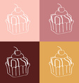 Cupcakes Seamless linear pattern vector image