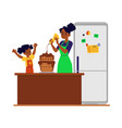 daughter helps mother in kitchen with cooking flat vector image vector image