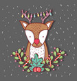 deer with lights and branches leaves decoration vector image vector image