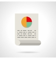 Document with pie chart flat icon vector image vector image