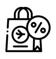 duty free paper bag icon outline vector image vector image