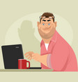 fat male programmer vector image