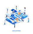 flat color modern isometric design - social vector image