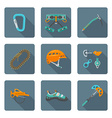 flat style colored various alpinism tools icons vector image