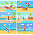 freelancers in hot tropical countries in summer vector image vector image