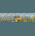 goods packing automatic conveyor line vector image vector image