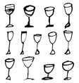 hand drawn drink cups vector image vector image
