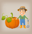 happy farmer with a shovel next to a huge pumpkin vector image