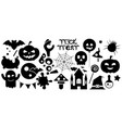 happy halloween black icons set vector image