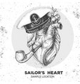 human heart with sailors hat and smoking pipe vector image
