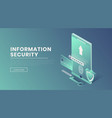 information security landing page 3d vector image vector image