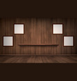 interior wooden room with shelf and frames vector image
