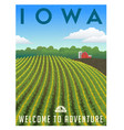 iowa united states retro travel poster vector image vector image