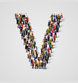 large group of people in letter v form vector image vector image