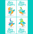 merry christmas birds set vector image vector image
