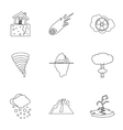 Natural catastrophe icons set outline style vector image vector image