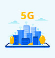 network 5g coverage city wireless internet fifth vector image