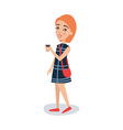 pretty red haired girl in a blue dress standing vector image vector image