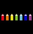 rainbow color pencil icon set line back to school vector image