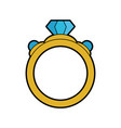Ring with diamond engagement icon image vector image