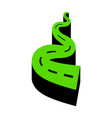 road simple sign green 3d icon with black vector image
