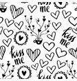 romantic doodle pattern with hearts-05 vector image vector image