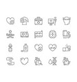 set heart attack line icons cardiogram first vector image