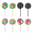 set of colorful and black and white lollipops vector image vector image