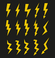 set of icons representing yellow lightning bolt vector image vector image