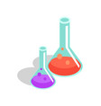 set of laboratory flasks with liquid vector image