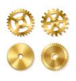 set of realistic golden gears vector image vector image