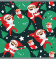 set with lovely dancing santa claus hand drawn in vector image
