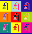 shower sign pop-art style colorful icons vector image vector image