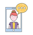 smartphone woman speech bubble chat vector image vector image