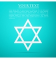 Star of David flat icon on blue background vector image vector image